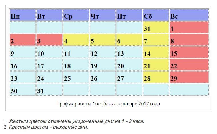 график работы в январе 2017 года