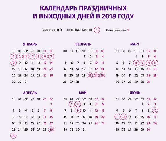 Паздничные дни в 2018 году